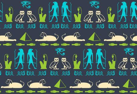 Folk egyptian hieroglyphics script elements seamless ornament. Man, Ra eye, pyramid, hand, snake, woman, bird archeology signs. Egyptian hieroglyphics civilization icons vector wallpaper.