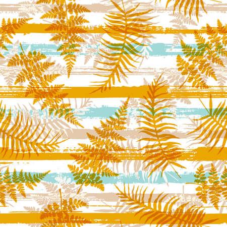 Decorative new zealand fern frond and bracken grass overlaying stripes vector seamless pattern. Brazilian exotic foliage summer fashion print. Floral tropical leaves seamless design. Иллюстрация