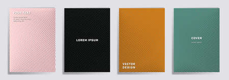 Semicircle lines halftone covers vector collection. Cool brochure title page layouts. Banners, posters, flyers backgrounds with halftone lines grid patterns. Intersecting circles prints. Иллюстрация