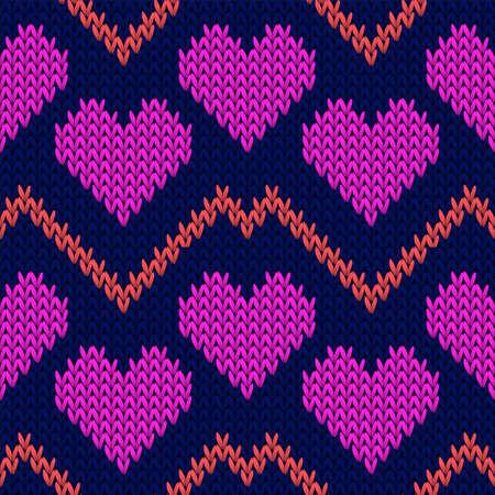Fair isle heart knit nordic vector seamless pattern. Knitting crochet valentine ornament. Jumper orderly heart knit cloth fabric love symbols pattern. Knitwear fashion. Иллюстрация