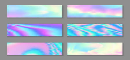 Holographic fashionable flyer horizontal fluid gradient princess backgrounds vector set. Opalescence neon holo texture gradients. Fluid liquid effect abstract princess backgrounds.