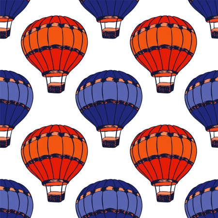 Fairytale hot air balloons illustration vector seamless patter. Retro transportation aircraft vehicles. Kids clothes pattern. Hot air balloons freedom symbols. Sky voyage objects. Иллюстрация