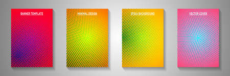 Minimalist circle faded screen tone cover page templates vector batch. Industrial brochure perforated screen tone patterns. Retro cartoon comics style front page leaflets. Rectangle albums.