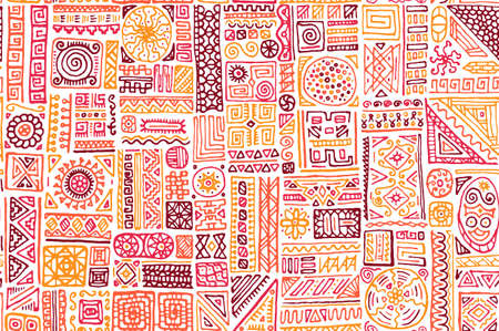 Hipster african vector seamless pattern. Fashion fabric print design. Freehand geometric ethnic tribal bali swatch. Funny doodle patchwork. Chevron triangle circle rhombus elements. Иллюстрация