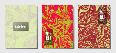 Minimalist marble prints, vector cover design templates. Fluid marble stone texture iInteriors fashion magazine backgrounds Corporate journal patterns set of liquid ink waves. Brochure covers set.