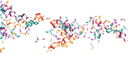Musical note symbols vector backdrop. Melody notation elements burst. Dance music wallpaper. Doodle note symbols signs with flat. Banner backdrop. Иллюстрация