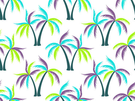Palm tree cartoon seamless pattern vector design. Tropical island plants fabric ornament. Coconut palm tree silhouettes on white. Nature elements illustration. Fashion textile print.