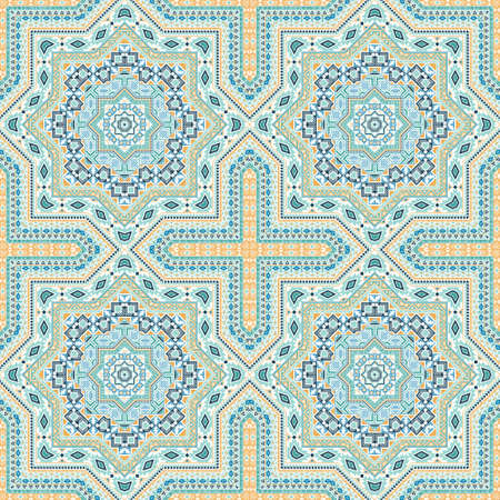 Fine italian maiolica tile seamless rapport. Geometric texture vector elements. Linens print design. Classic italian mayolica tilework repetitive pattern. Line art graphic background. Иллюстрация