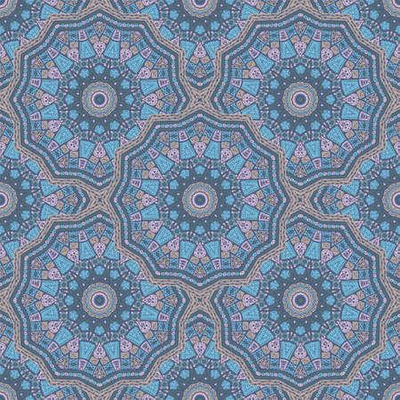 Round medallion vector seamless pattern. Ethnic motifs fabric print. Islamic traditional seamless ornament. Bohemian medallion wallpaper graphic design. Carpet pattern ethnic template.