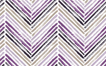 Colorful chevron fashion print vector seamless pattern. Paintbrush strokes geometric stripes. Hand drawn paint texture zig zag chevron backdrop. Watercolor textile print seamless design. Иллюстрация