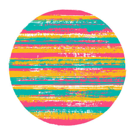 Abstract circle vector geometric shape with striped texture of paint horizontal lines. Disk banner with old paint texture. Stamp round shape logotype circle with grunge background of stripes. Иллюстрация