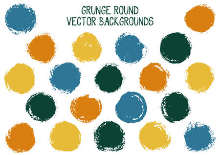 Vector grunge circles. Trendy post stamp texture circle scratched label backgrounds. Circular tag icon, chalk logo shape, oval button elements. Grunge round shape banner backgrounds set. Иллюстрация