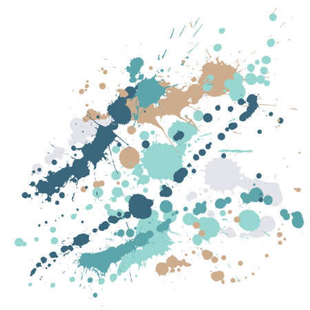 Watercolor stains grunge background vector. Trendy ink splatter, spray blots, dirty spot elements, wall graffiti. Watercolor paint splashes pattern, smear liquid stains splatter background.