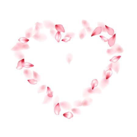 Pink sakura flower flying petals isolated on white vector background.