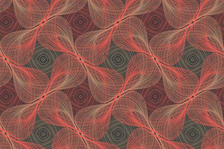Organic lines geometric shapes optical illusion seamless pattern. Иллюстрация