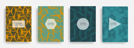 Halftone shapes business catalog covers vector design.