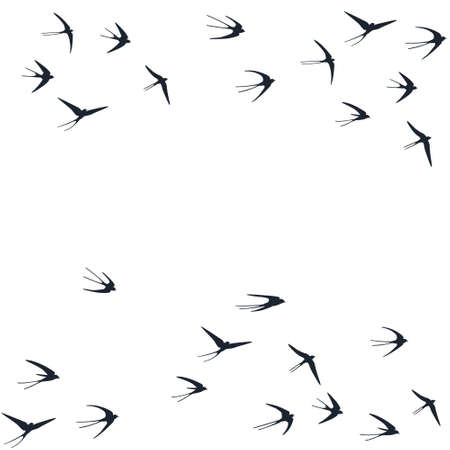 Flying swallow birds silhouettes vector illustration. Migratory martlets school isolated on white. Иллюстрация