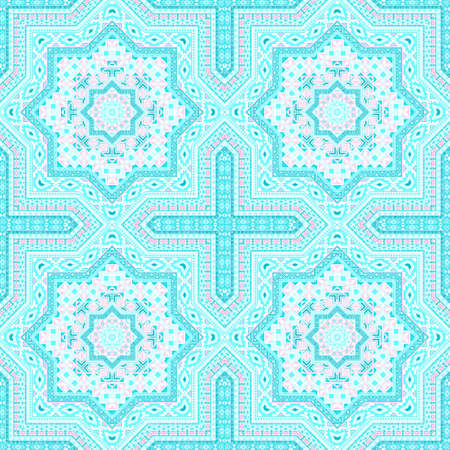 Elegant victorian majolica tile seamless pattern. Ethnic geometric vector elements. Bedcover print design. Stylized spanish mayolica tilework endless pattern. Wall decoration template.
