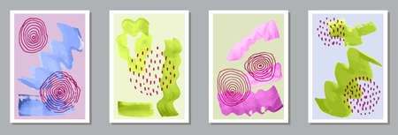 Hand painted minimalist banners vector set. Иллюстрация