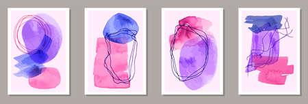 Hand drawn abstract canvas vector set. Watercolor