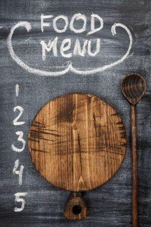 menu title written with chalk on blackboard Stok Fotoğraf