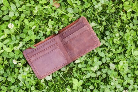 Wallet on grass 版權商用圖片