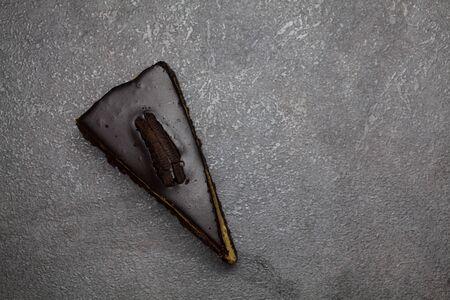 Piece of chocolate pie top view