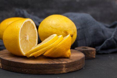 lemons on the wooden board