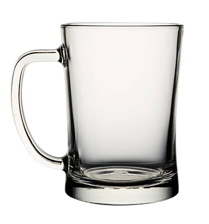 Empty glass for beer isolated on white background. Front view.