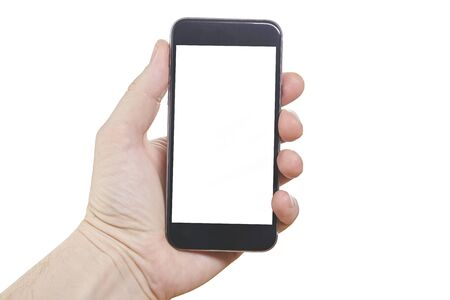 Human hand holding blank large mobile smart phone isolated on white background.