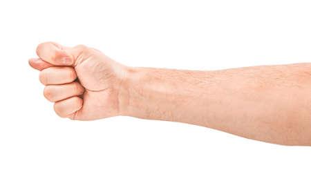 Female hands negative figa on a white background. Isolation Stock Photo