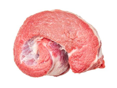 Pieces of raw fresh Beef isolated on white background Stock Photo