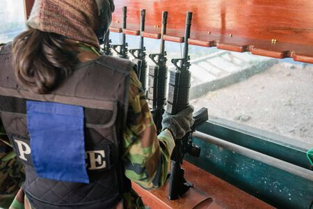 bb gun player Stock Photo