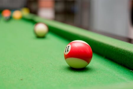 snooker table with billiard balls