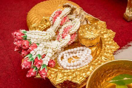 Thai Flower Garland,wedding ceremony accessories tool, Thailand wedding Stock Photo