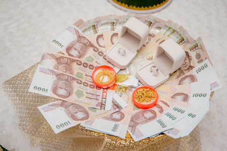 Wedding Dowry, The Dowry Marriage in Thailand, Thailand wedding, ceremony Banco de Imagens