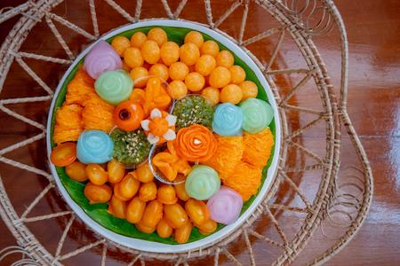 Thai Traditional Dessert, Thai sweets, or Khanom Thai Reklamní fotografie