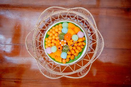Thai Traditional Dessert, Thai sweets, or Khanom Thai Stok Fotoğraf
