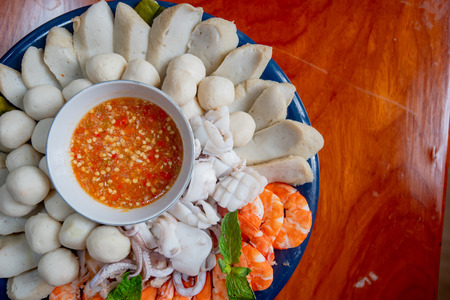 Steamed seafood, Fish ball, squid, shrimp served with spicy sauce