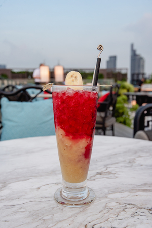 cocktail banana and strawberry soda 写真素材