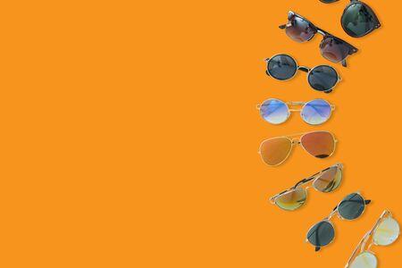 eyeglasses isolated on orange background Stock Photo