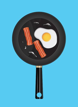 Pan with fried egg and bacon in background vector