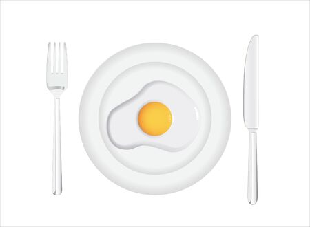 Plate with fried egg fork and knife in background vector