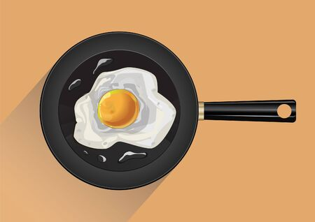 Pan with fried egg in backgroundn vector 일러스트