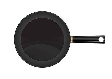 empty frying pan in background vector