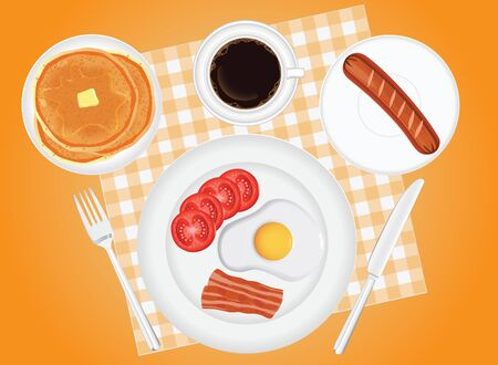Breakfast concept. fried egg bacon sausage tomato coffee and pancakes in background vector 일러스트