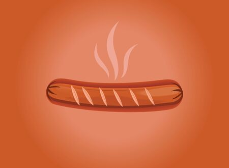 Grilled sausage in background vector Stock Illustratie