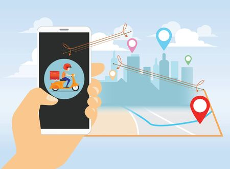 delivery man service by scooter in background vector, mobile application 일러스트