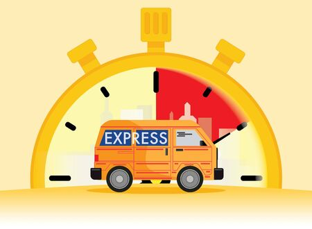 van express delivery service in background vector, mobile application