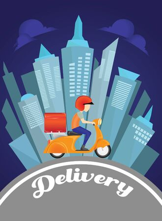 delivery man service by scooter in background vector